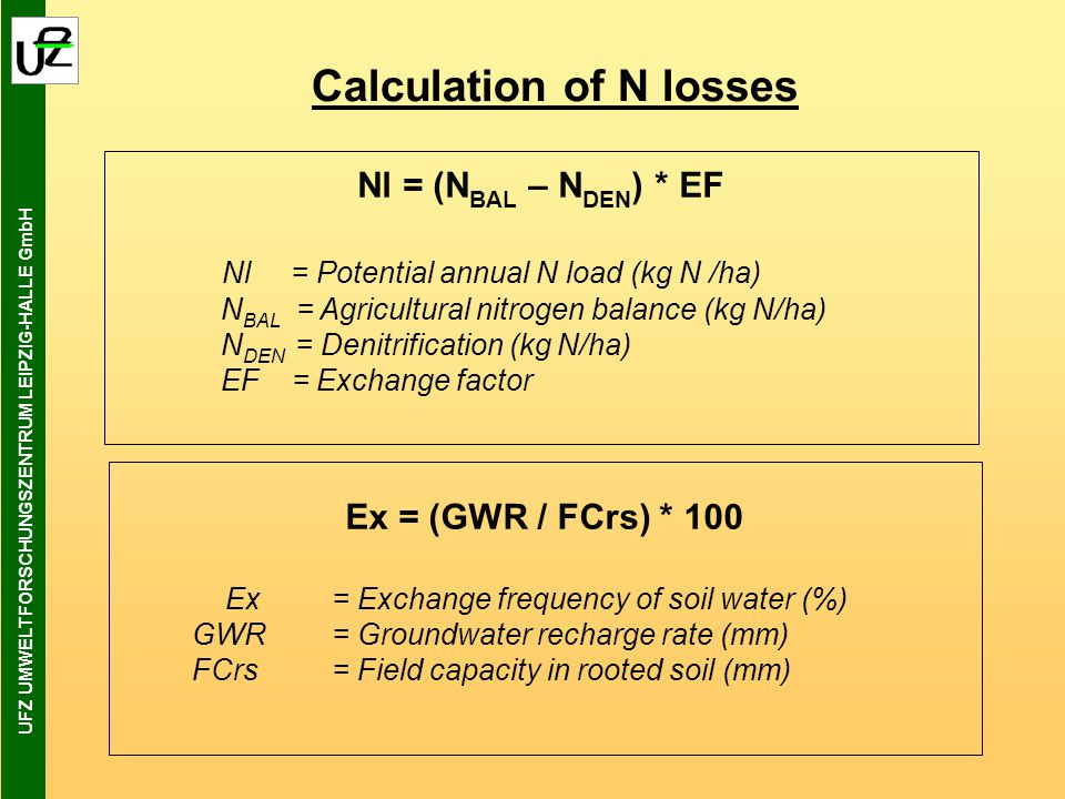 UFZ UMWELTFORSCHUNGSZENTRUM LEIPZIG-HALLE GmbH Calculation of N losses Nl = (N BAL – N DEN ) * EF Nl = Potential annual N load (kg N /ha) N BAL = Agricultural nitrogen balance (kg N/ha) N DEN = Denitrification (kg N/ha) EF = Exchange factor Ex = (GWR / FCrs) * 100 Ex = Exchange frequency of soil water (%) GWR= Groundwater recharge rate (mm) FCrs= Field capacity in rooted soil (mm)