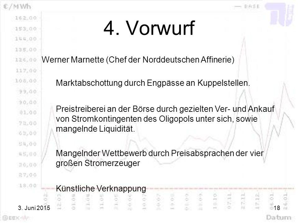 3. Juni 201518 4. Vorwurf Werner Marnette (Chef der Norddeutschen Affinerie) Marktabschottung durch Engpässe an Kuppelstellen. Preistreiberei an der B