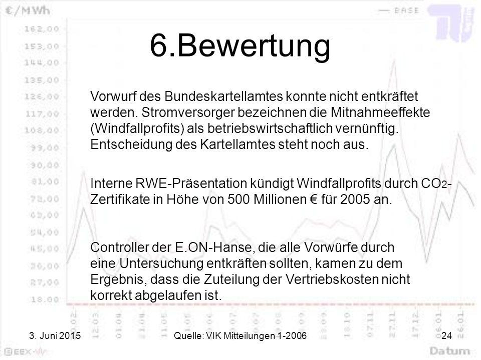 3. Juni 2015Quelle: VIK Mitteilungen 1-200624 6.Bewertung Vorwurf des Bundeskartellamtes konnte nicht entkräftet werden. Stromversorger bezeichnen die