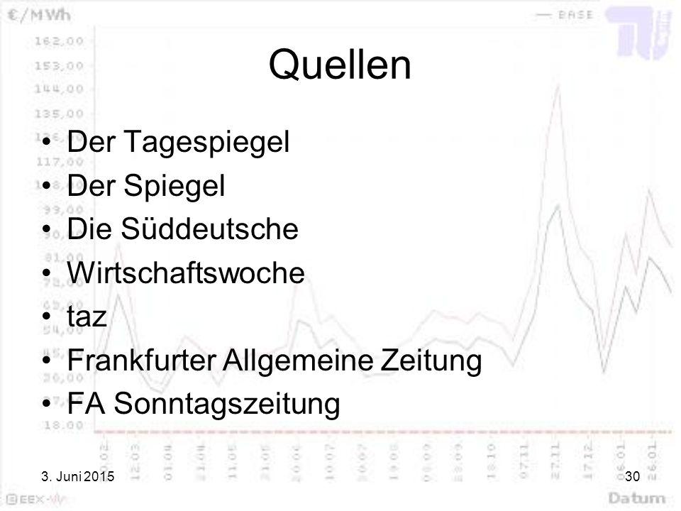 3. Juni 201530 Quellen Der Tagespiegel Der Spiegel Die Süddeutsche Wirtschaftswoche taz Frankfurter Allgemeine Zeitung FA Sonntagszeitung