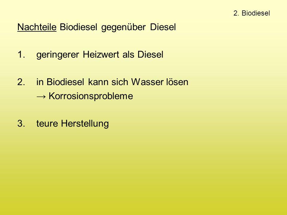 2. Biodiesel Nachteile Biodiesel gegenüber Diesel 1.geringerer Heizwert als Diesel 2.in Biodiesel kann sich Wasser lösen → Korrosionsprobleme 3.teure