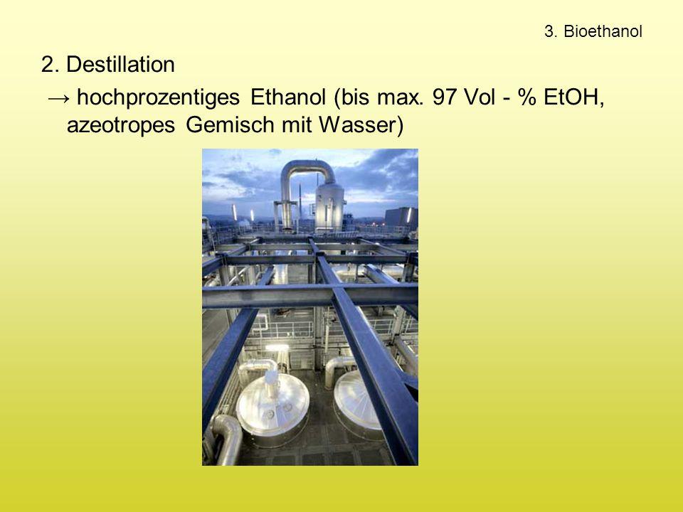 3. Bioethanol 2. Destillation → hochprozentiges Ethanol (bis max. 97 Vol - % EtOH, azeotropes Gemisch mit Wasser)