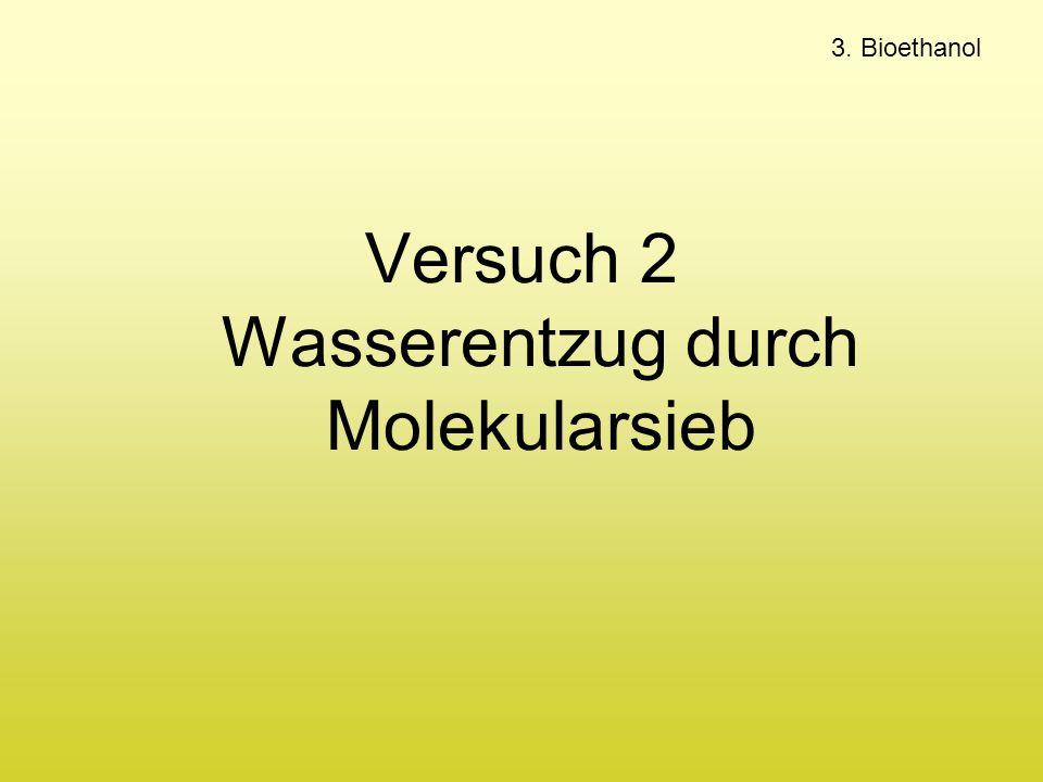 Versuch 2 Wasserentzug durch Molekularsieb 3. Bioethanol