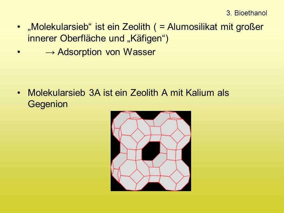 """3. Bioethanol """"Molekularsieb"""" ist ein Zeolith ( = Alumosilikat mit großer innerer Oberfläche und """"Käfigen"""") → Adsorption von Wasser Molekularsieb 3A i"""