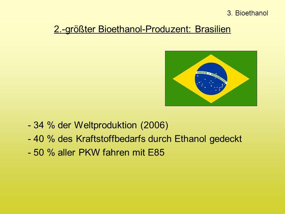 2.-größter Bioethanol-Produzent: Brasilien - 34 % der Weltproduktion (2006) - 40 % des Kraftstoffbedarfs durch Ethanol gedeckt - 50 % aller PKW fahren