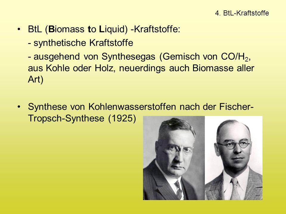 BtL (Biomass to Liquid) -Kraftstoffe: - synthetische Kraftstoffe - ausgehend von Synthesegas (Gemisch von CO/H 2, aus Kohle oder Holz, neuerdings auch