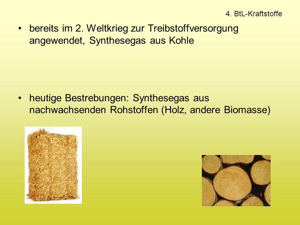 4. BtL-Kraftstoffe bereits im 2. Weltkrieg zur Treibstoffversorgung angewendet, Synthesegas aus Kohle heutige Bestrebungen: Synthesegas aus nachwachse