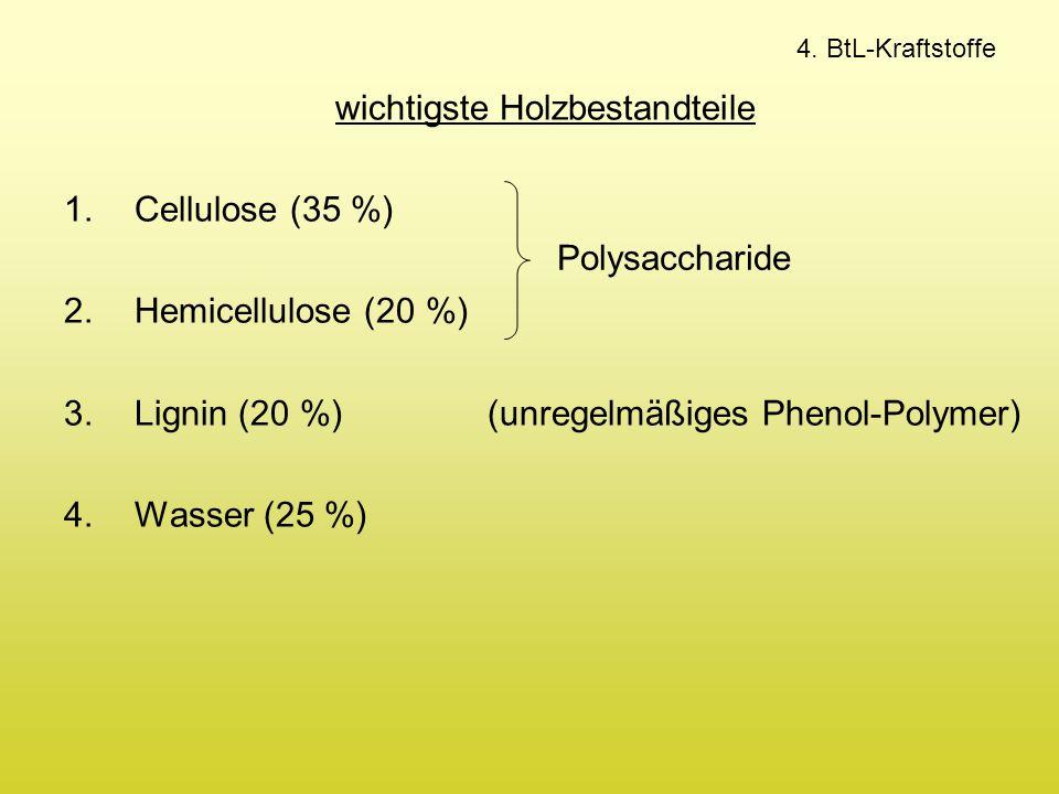 4. BtL-Kraftstoffe wichtigste Holzbestandteile 1.Cellulose (35 %) 2.Hemicellulose (20 %) 3.Lignin (20 %) (unregelmäßiges Phenol-Polymer) 4.Wasser (25