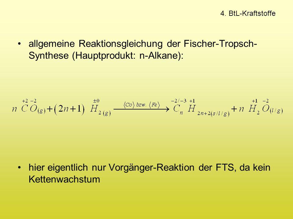 4. BtL-Kraftstoffe allgemeine Reaktionsgleichung der Fischer-Tropsch- Synthese (Hauptprodukt: n-Alkane): hier eigentlich nur Vorgänger-Reaktion der FT