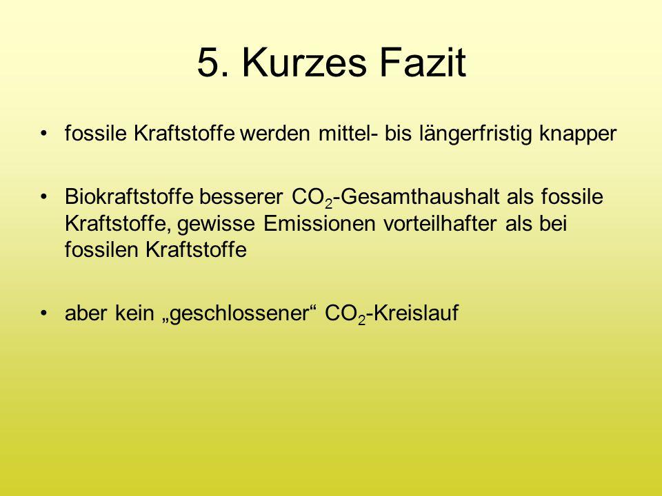 5. Kurzes Fazit fossile Kraftstoffe werden mittel- bis längerfristig knapper Biokraftstoffe besserer CO 2 -Gesamthaushalt als fossile Kraftstoffe, gew