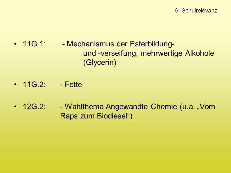 6. Schulrelevanz 11G.1: - Mechanismus der Esterbildung- und -verseifung, mehrwertige Alkohole (Glycerin) 11G.2: - Fette 12G.2:- Wahlthema Angewandte C