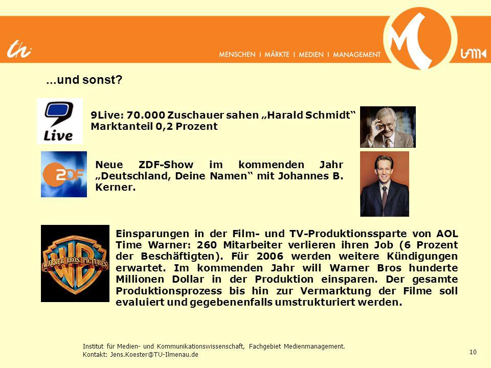 Institut für Medien- und Kommunikationswissenschaft, Fachgebiet Medienmanagement. Kontakt: Jens.Koester@TU-Ilmenau.de 10 9Live: 70.000 Zuschauer sahen
