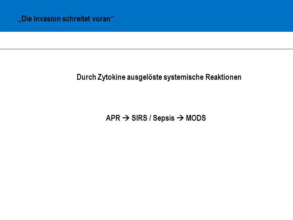 Systemische Reaktionen Akute-Phase-Reaktion : frühe systemische Reaktion Systemisch-inflammatorisches Response-Syndrom : klinische Reaktion auf einen nicht-spezifischen Reiz, die ≥2 der folgenden Symptome aufweist - Temperatur ≥ 38°C oder ≤ 36°C - Herzfrequenz ≥ 90 S/min - Atemfrequenz ≥ 20/min - Leukozyten ≥ 12000/µl oder ≤ 4000/µl Sepsis : SIRS + angenommene oder nachgewiesene Infektion Multi-Organ-Dysfunctin-Syndrom : bei ungünstigem Verlauf von SIRS oder Sepsis