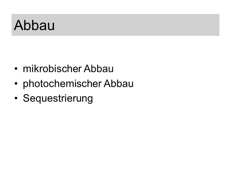 Abbau mikrobischer Abbau photochemischer Abbau Sequestrierung
