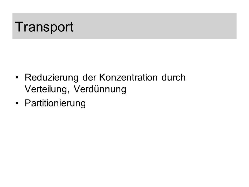 Reduzierung der Konzentration durch Verteilung, Verdünnung Partitionierung Transport