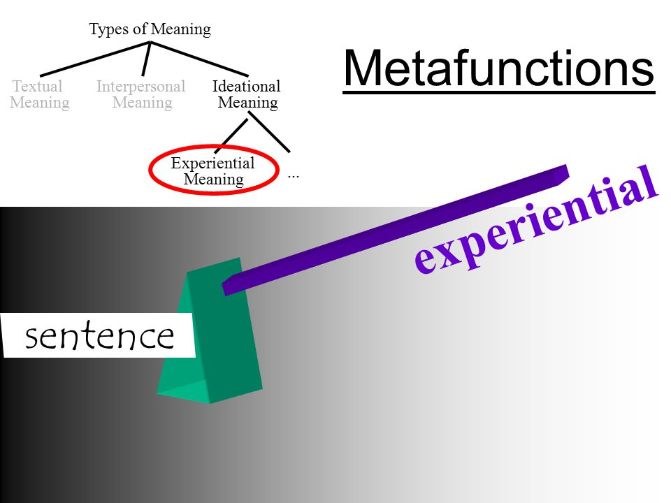 Types of Meaning Textual Meaning Experiential Meaning Interpersonal Meaning Ideational Meaning...