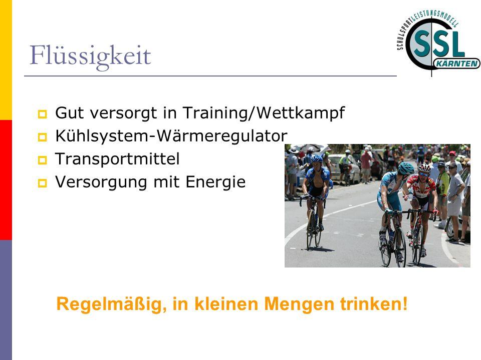 Flüssigkeit  Gut versorgt in Training/Wettkampf  Kühlsystem-Wärmeregulator  Transportmittel  Versorgung mit Energie Regelmäßig, in kleinen Mengen