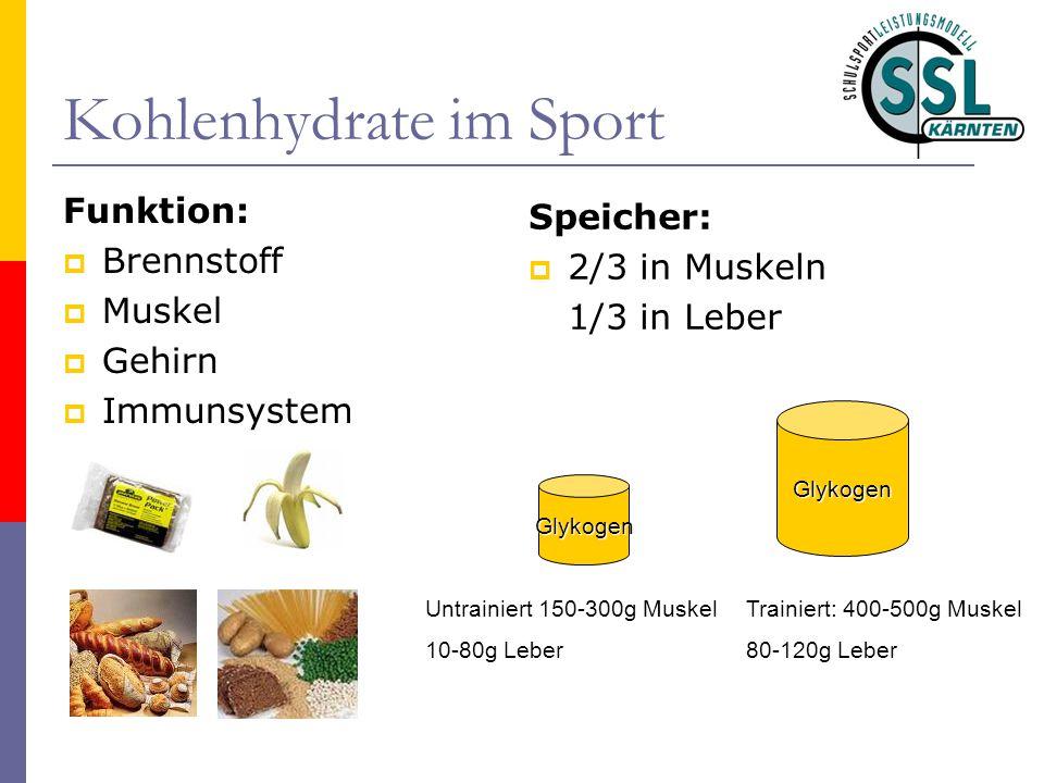 Kohlenhydrate im Sport Funktion:  Brennstoff  Muskel  Gehirn  Immunsystem Speicher:  2/3 in Muskeln 1/3 in Leber Untrainiert 150-300g Muskel 10-8