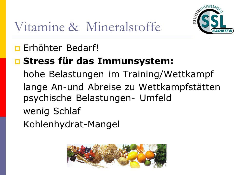 Vitamine & Mineralstoffe  Erhöhter Bedarf!  Stress für das Immunsystem: hohe Belastungen im Training/Wettkampf lange An-und Abreise zu Wettkampfstät