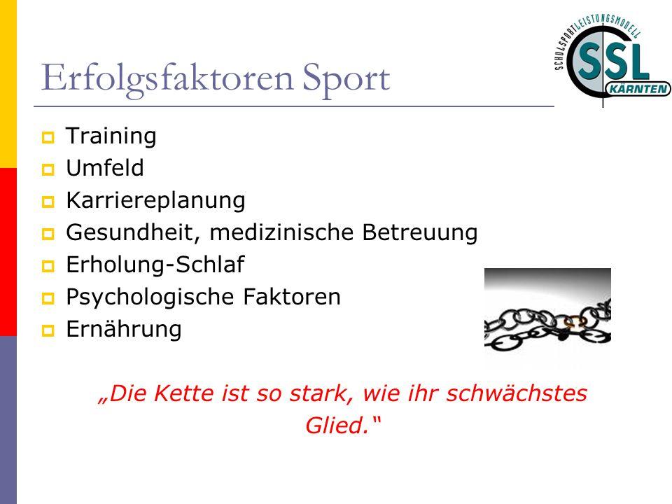 Erfolgsfaktoren Sport  Training  Umfeld  Karriereplanung  Gesundheit, medizinische Betreuung  Erholung-Schlaf  Psychologische Faktoren  Ernähru