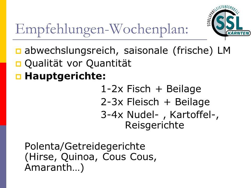Empfehlungen-Wochenplan:  abwechslungsreich, saisonale (frische) LM  Qualität vor Quantität  Hauptgerichte: 1-2x Fisch + Beilage 2-3x Fleisch + Bei