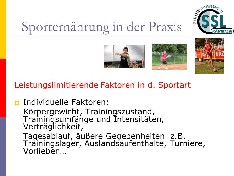 Sporternährung in der Praxis Leistungslimitierende Faktoren in d. Sportart  Individuelle Faktoren: Körpergewicht, Trainingszustand, Trainingsumfänge