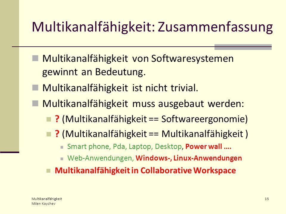 Multikanalfähigkeit Milen Koychev 15 Multikanalfähigkeit: Zusammenfassung Multikanalfähigkeit von Softwaresystemen gewinnt an Bedeutung.