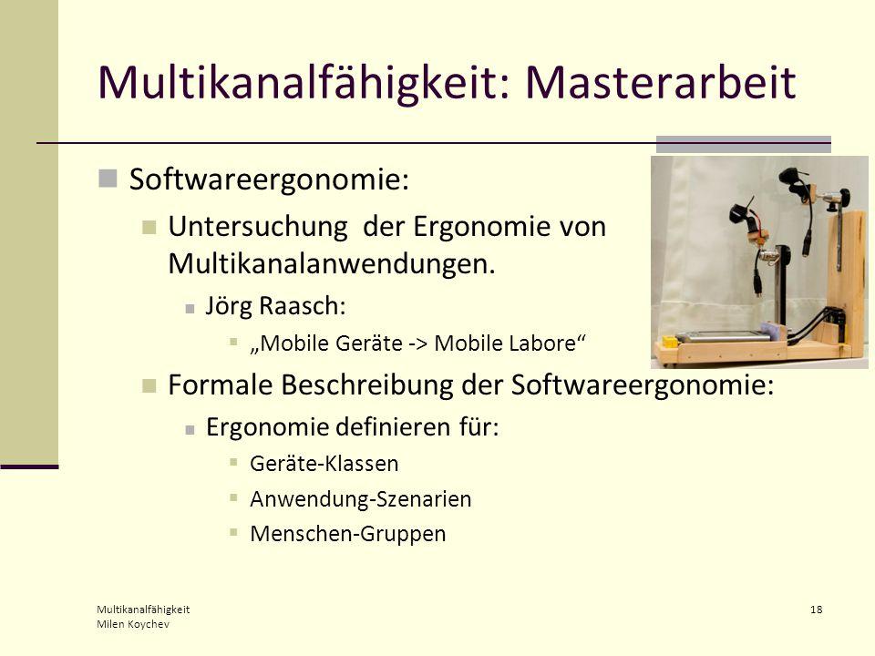 Multikanalfähigkeit Milen Koychev 18 Multikanalfähigkeit: Masterarbeit Softwareergonomie: Untersuchung der Ergonomie von Multikanalanwendungen.