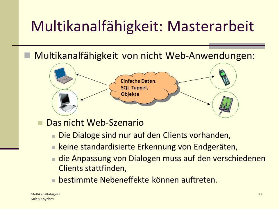 Multikanalfähigkeit Milen Koychev 22 Multikanalfähigkeit von nicht Web-Anwendungen: Das nicht Web-Szenario Die Dialoge sind nur auf den Clients vorhanden, keine standardisierte Erkennung von Endgeräten, die Anpassung von Dialogen muss auf den verschiedenen Clients stattfinden, bestimmte Nebeneffekte können auftreten.
