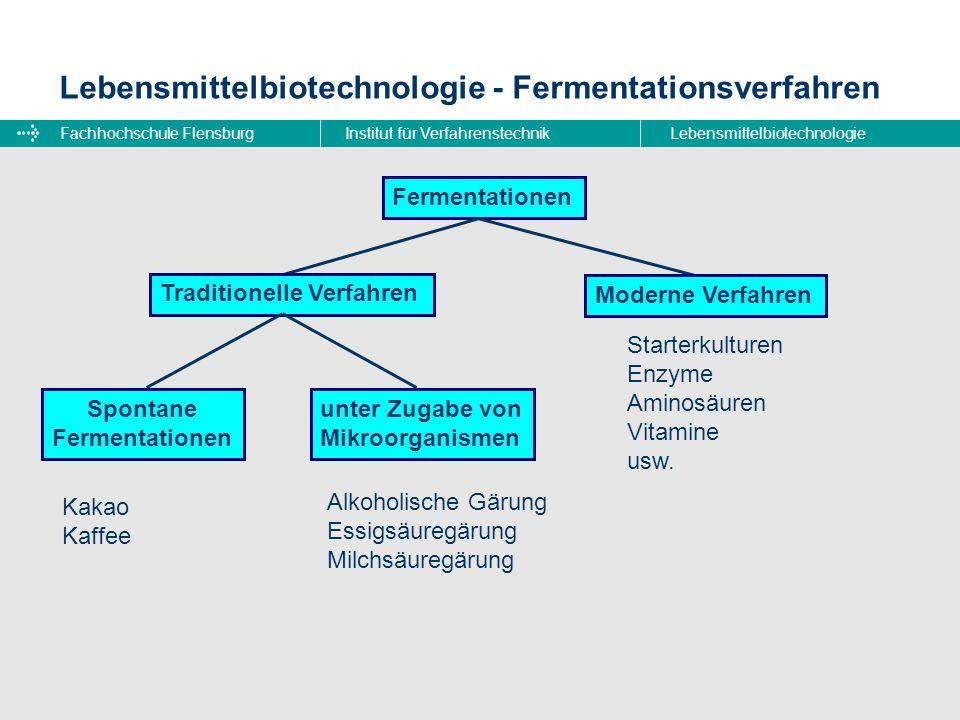 Fachhochschule FlensburgInstitut für VerfahrenstechnikLebensmittelbiotechnologie Lebensmittelbiotechnologie - Fermentationsverfahren Fermentationen Tr