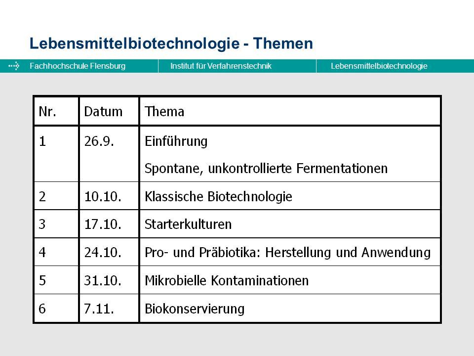 Fachhochschule FlensburgInstitut für VerfahrenstechnikLebensmittelbiotechnologie Lebensmittelbiotechnologie - Themen