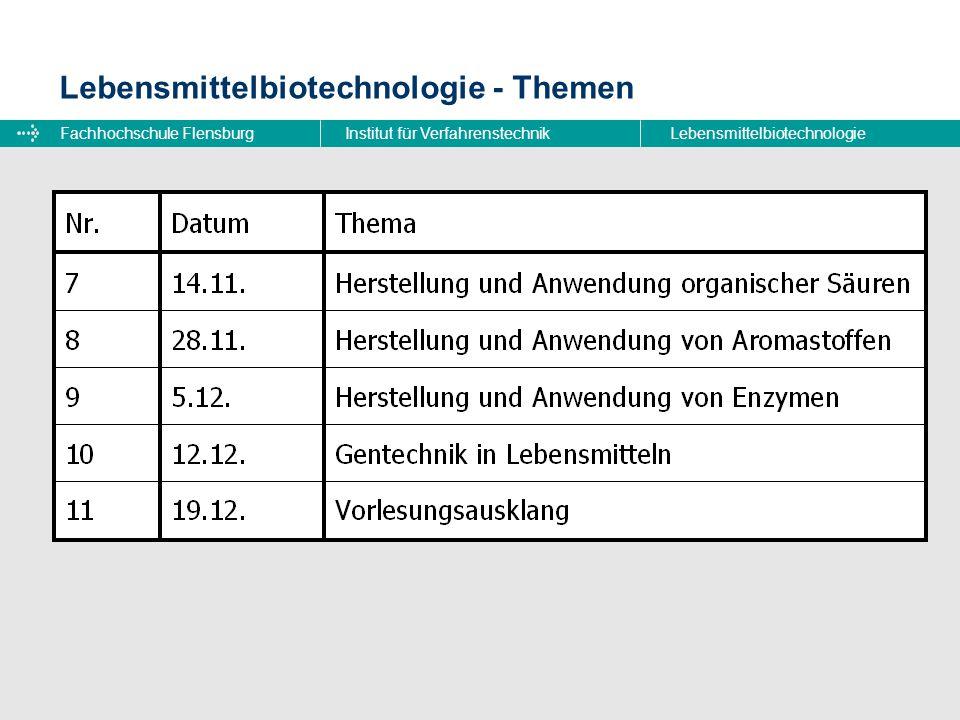 Fachhochschule FlensburgInstitut für VerfahrenstechnikLebensmittelbiotechnologie Lebensmittelbiotechnologie - Laborpraktikum Lehrbeauftragter: Dr.
