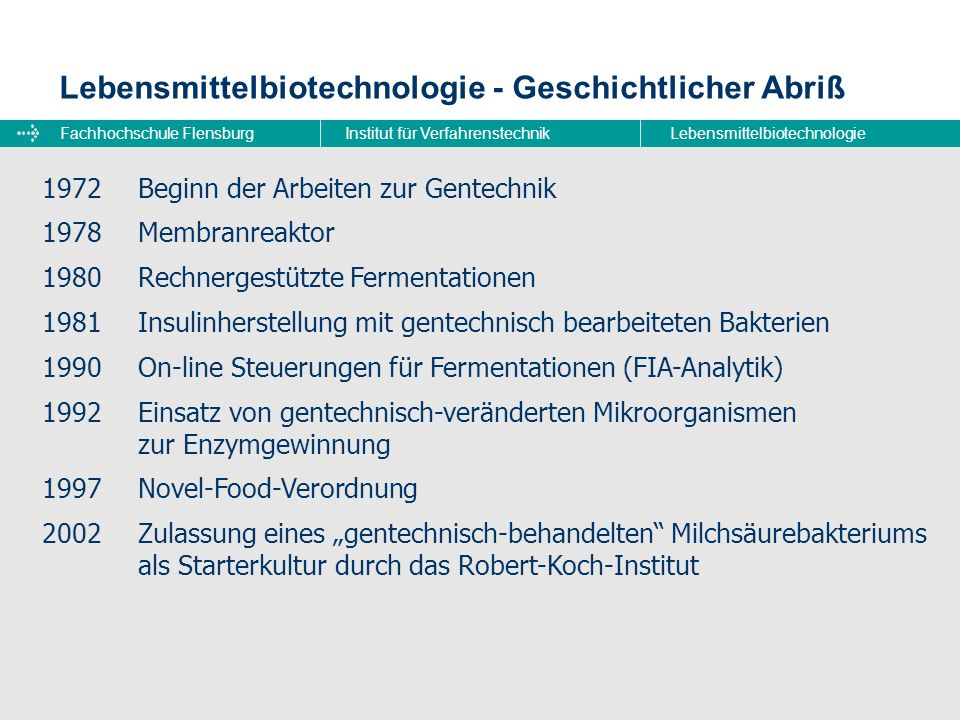 Fachhochschule FlensburgInstitut für VerfahrenstechnikLebensmittelbiotechnologie Lebensmittelbiotechnologie - Geschichtlicher Abriß 1972Beginn der Arb