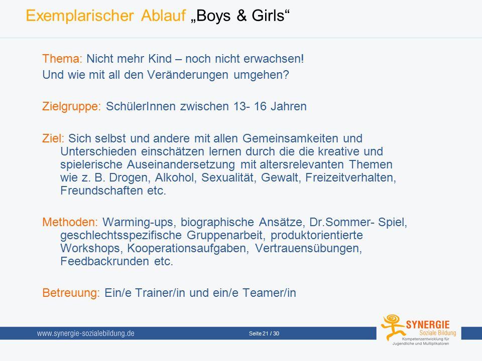 """Seite 21 / 30 Exemplarischer Ablauf """"Boys & Girls"""" Thema: Nicht mehr Kind – noch nicht erwachsen! Und wie mit all den Veränderungen umgehen? Zielgrupp"""