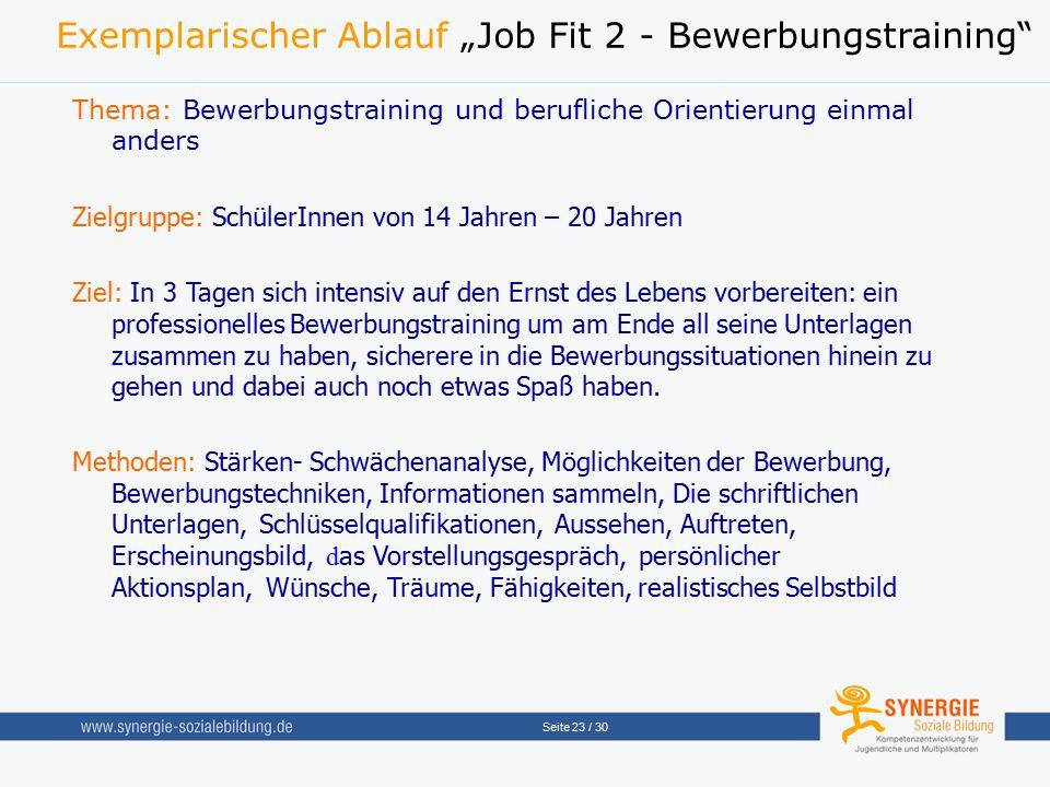 "Seite 23 / 30 Exemplarischer Ablauf ""Job Fit 2 - Bewerbungstraining"" Thema: Bewerbungstraining und berufliche Orientierung einmal anders Zielgruppe: S"