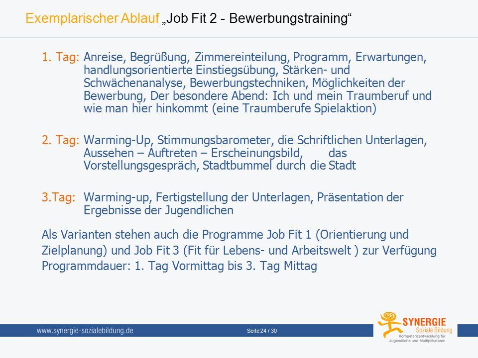 """Seite 24 / 30 Exemplarischer Ablauf """"Job Fit 2 - Bewerbungstraining"""" 1. Tag:Anreise, Begrüßung, Zimmereinteilung, Programm, Erwartungen, handlungsorie"""