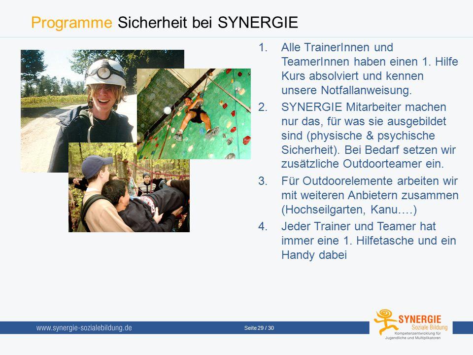 Seite 29 / 30 Programme Sicherheit bei SYNERGIE  Alle TrainerInnen und TeamerInnen haben einen 1. Hilfe Kurs absolviert und kennen unsere Notfallanw