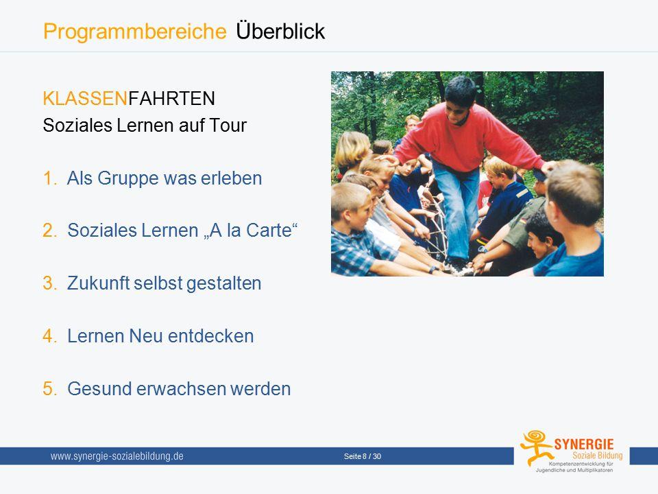 """Seite 8 / 30 Programmbereiche Überblick KLASSENFAHRTEN Soziales Lernen auf Tour  Als Gruppe was erleben  Soziales Lernen """"A la Carte""""  Zukunft s"""