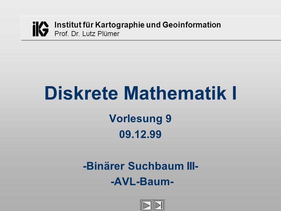 Institut für Kartographie und Geoinformation Prof. Dr. Lutz Plümer Diskrete Mathematik I Vorlesung 9 09.12.99 -Binärer Suchbaum III- -AVL-Baum-