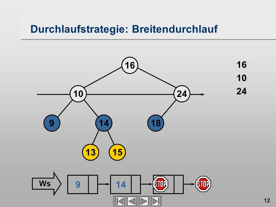 12 Durchlaufstrategie: Breitendurchlauf 18149 1024 16 1315 16 24 10 914 Ws 18