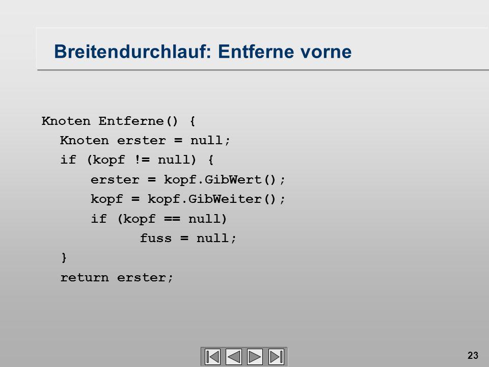 23 Breitendurchlauf: Entferne vorne Knoten Entferne() { Knoten erster = null; if (kopf != null) { erster = kopf.GibWert(); kopf = kopf.GibWeiter(); if (kopf == null) fuss = null; } return erster;