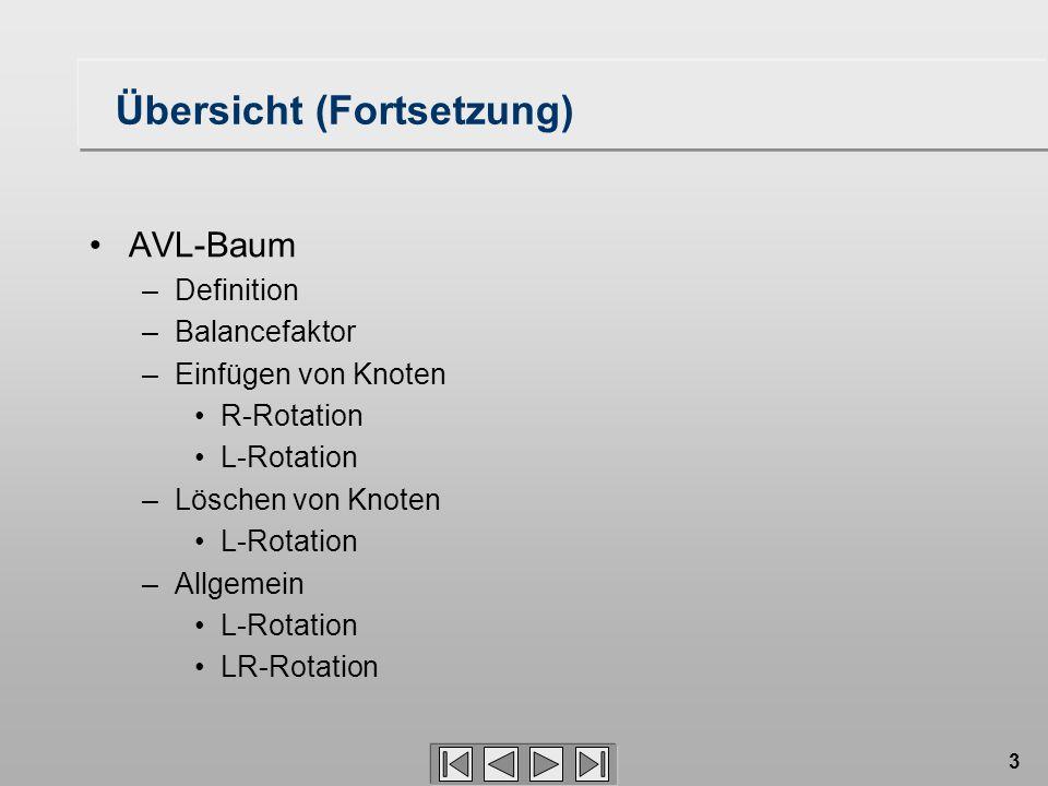 3 Übersicht (Fortsetzung) AVL-Baum –Definition –Balancefaktor –Einfügen von Knoten R-Rotation L-Rotation –Löschen von Knoten L-Rotation –Allgemein L-R