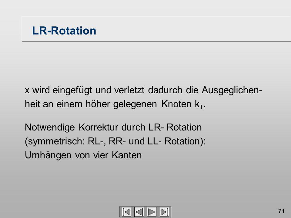 71 LR-Rotation x wird eingefügt und verletzt dadurch die Ausgeglichen- heit an einem höher gelegenen Knoten k 1. Notwendige Korrektur durch LR- Rotati