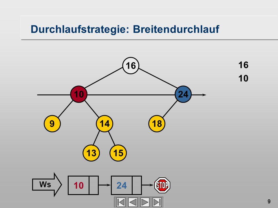 9 Durchlaufstrategie: Breitendurchlauf 18149 1024 16 1315 16 10 24 Ws