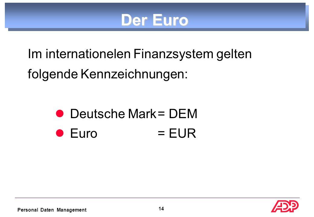 Personal Daten Management 13 Der Euro