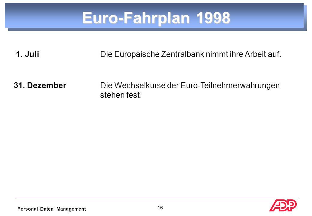 Personal Daten Management 15 Euro-Fahrplan 1998 1999 2000 2001 2002 Entscheidung über Teilnehmer Euro als Buchgeld Euro als Bargeld