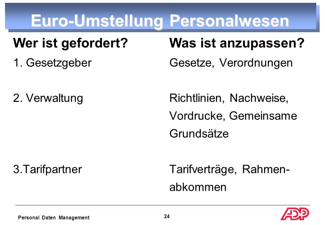 Personal Daten Management 23 Euroumrechnungen