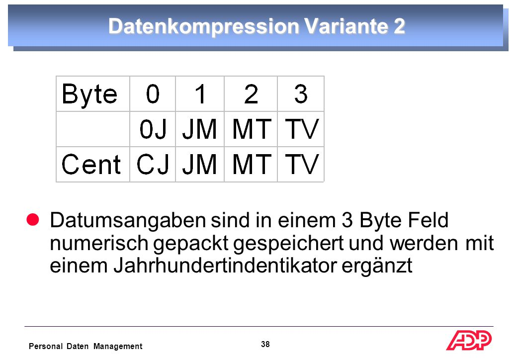 Personal Daten Management 37 Datenkompression Variante 1 Datumsangaben sind in einem 6 Byte Feld alphanumerisch gespeichert und werden durch eine Pack-Operation auf eine vierstellige Jahresangabe konvertiert.