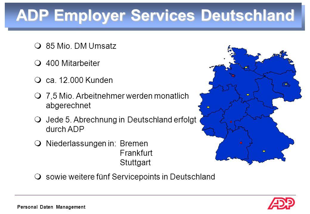 Personal Daten Management  85 Mio.DM Umsatz  400 Mitarbeiter  ca.