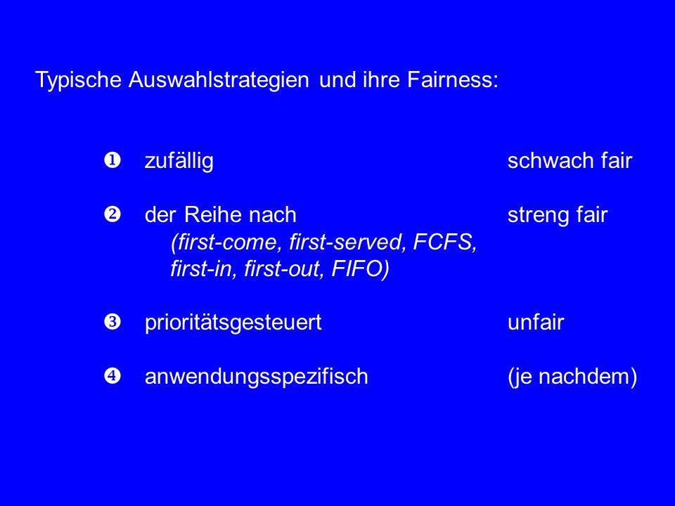 Typische Auswahlstrategien und ihre Fairness:  zufälligschwach fair  der Reihe nach streng fair (first-come, first-served, FCFS, first-in, first-out, FIFO)  prioritätsgesteuertunfair  anwendungsspezifisch(je nachdem)